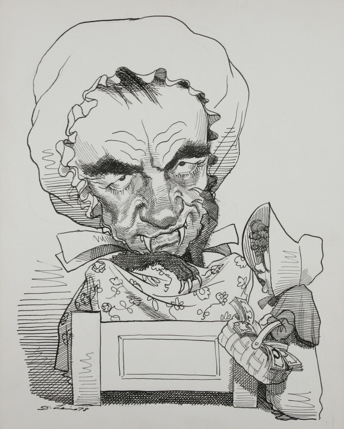 David Levine, Murdoch (SOLD), 1978, ink on paper, 13 3/4 x 11 inches