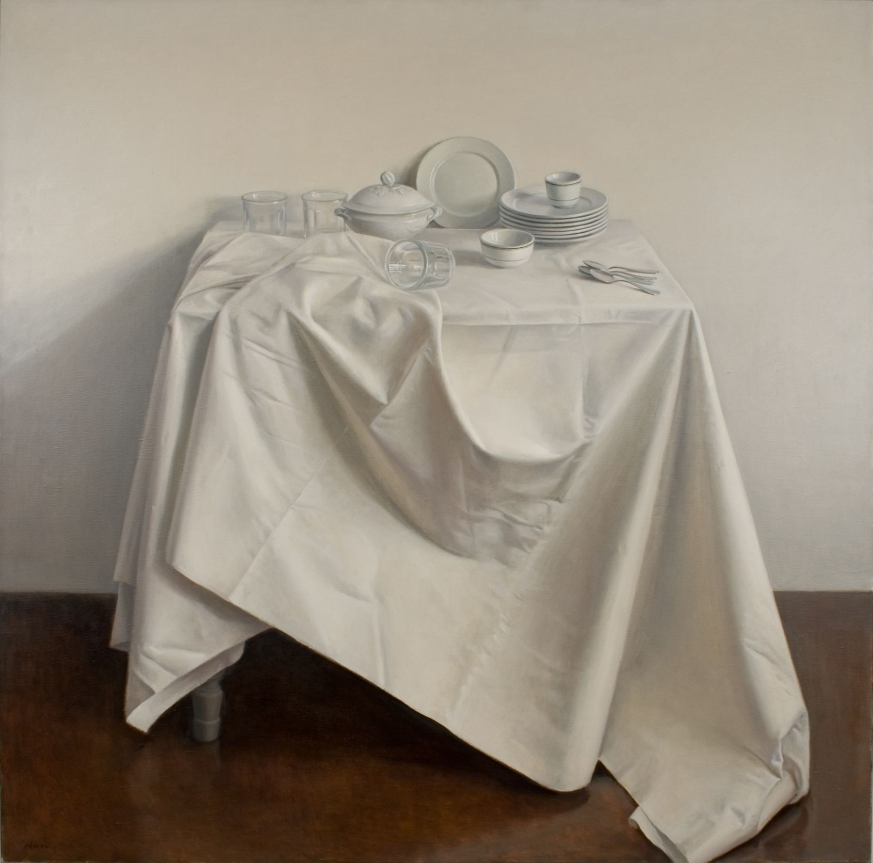 Raymond Han, Still Life with Draped Tablecloth, 1981 oil on canvas 52 x 52 inches