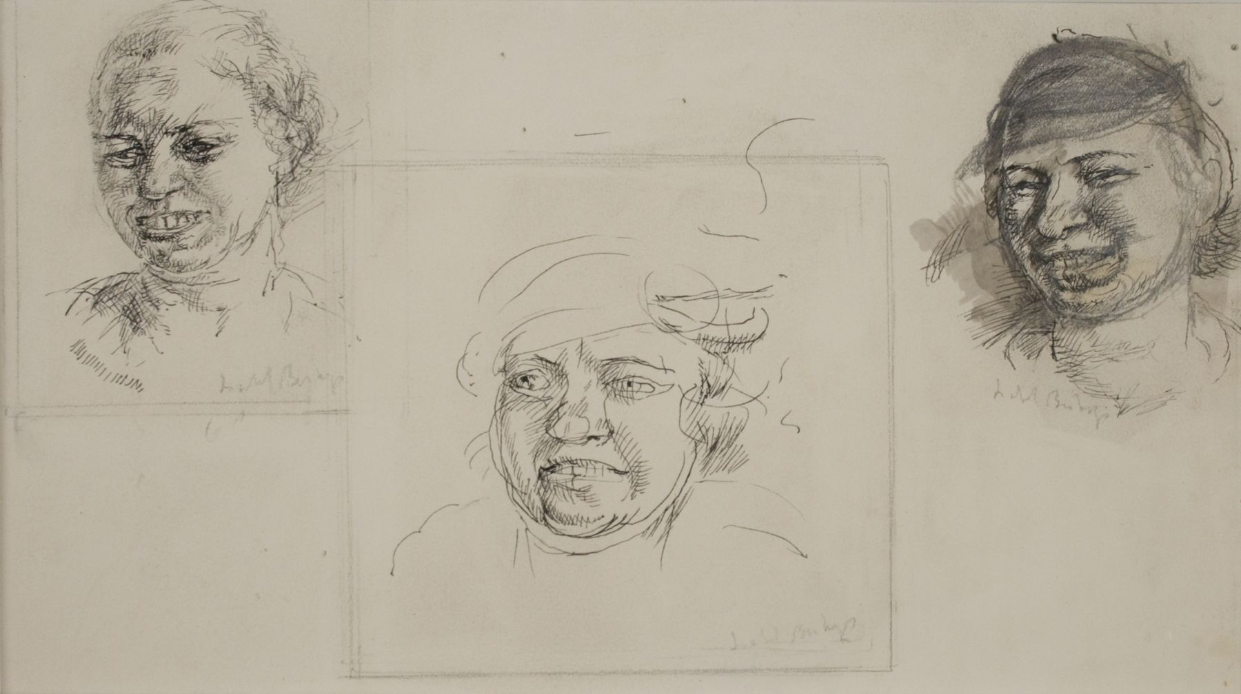 Isabel Bishop, Laughing Heads, Study Drawings, ink on paper, 7 x 9 1/4 inches