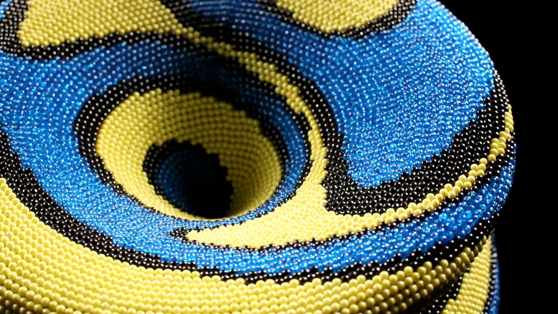 david mach, Yellow Drift (detail), 2012, plastic ball pins on foam 23 1/4 x 13 1/2 x 13 1/2 inches