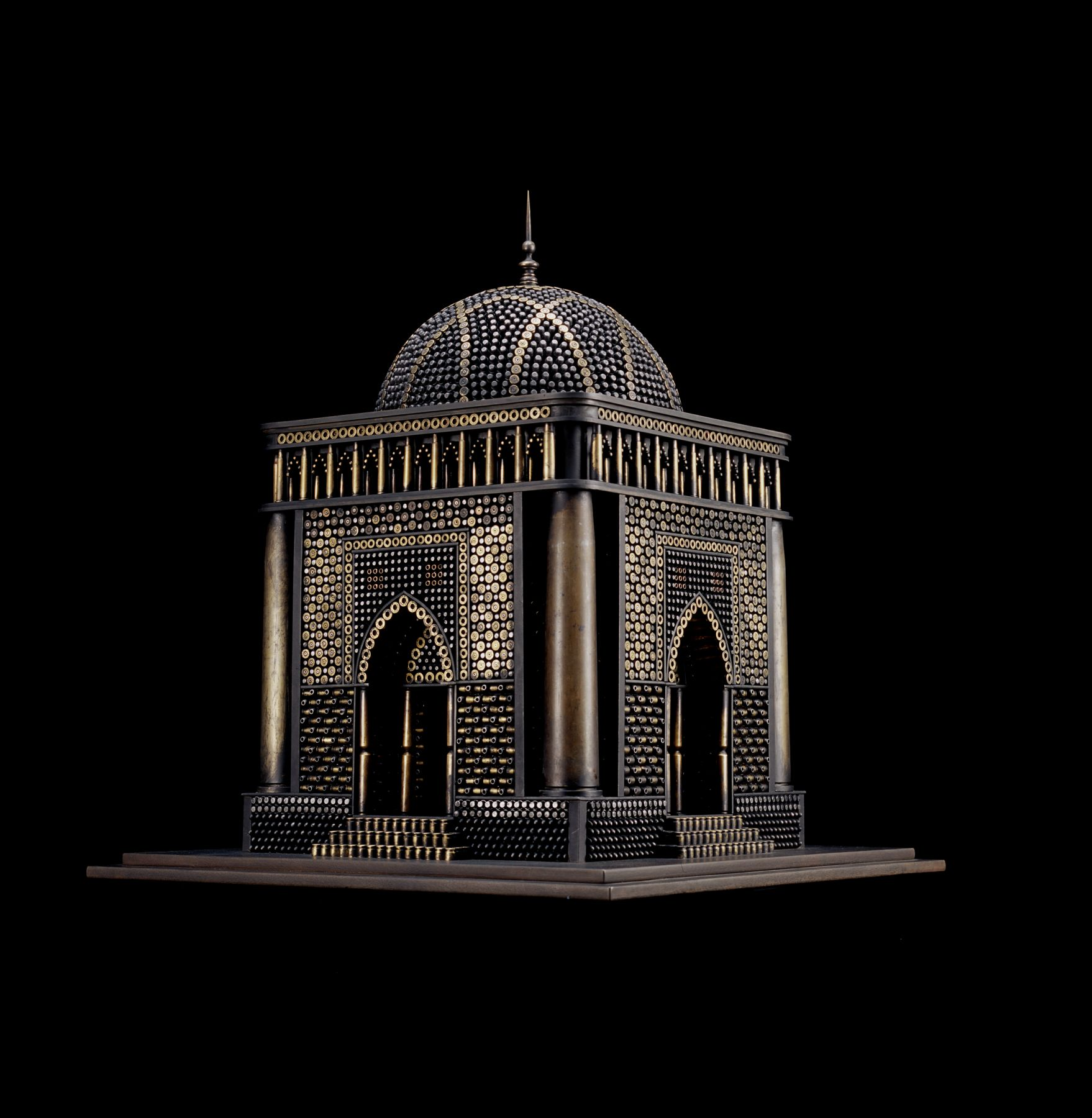 Al Farrow, Mausoleum II, 2008, bullets, artillery shells, steel, 29 x 24 x 24 inches