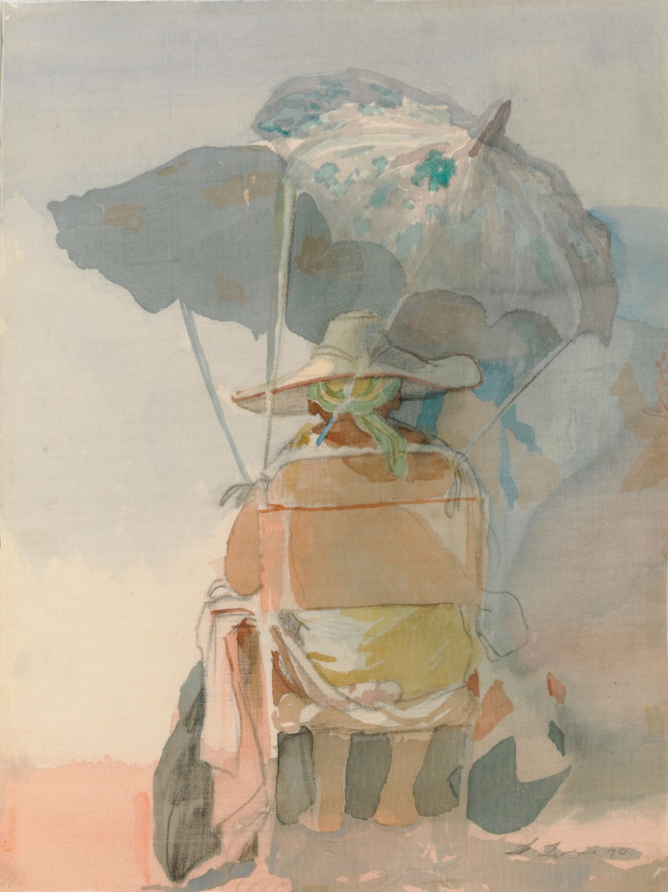 David Levine, Untitled (Beach Umbrella) [SOLD], 1984, watercolor on silk, 12 x 9 inches