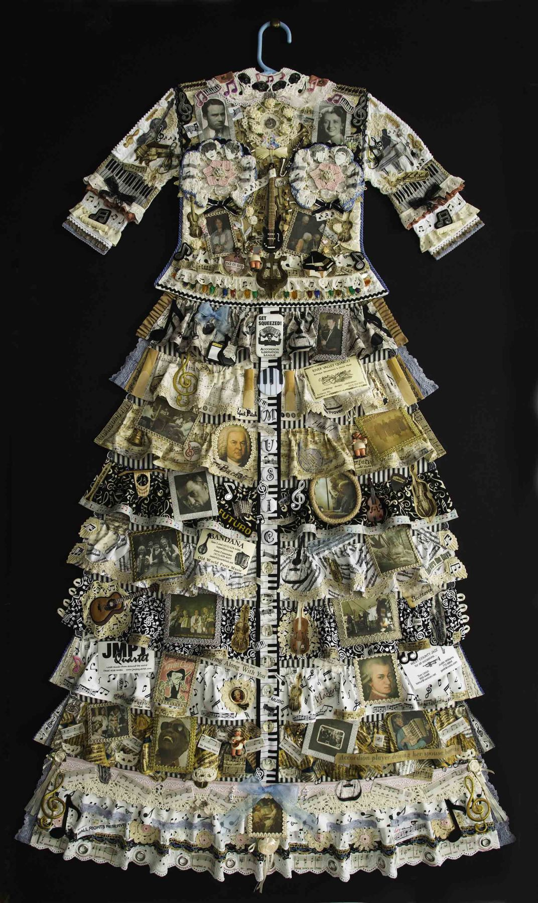 Jane Lund, Music Dress, 2015, assemblage of collected objects, 59 x 33 inches