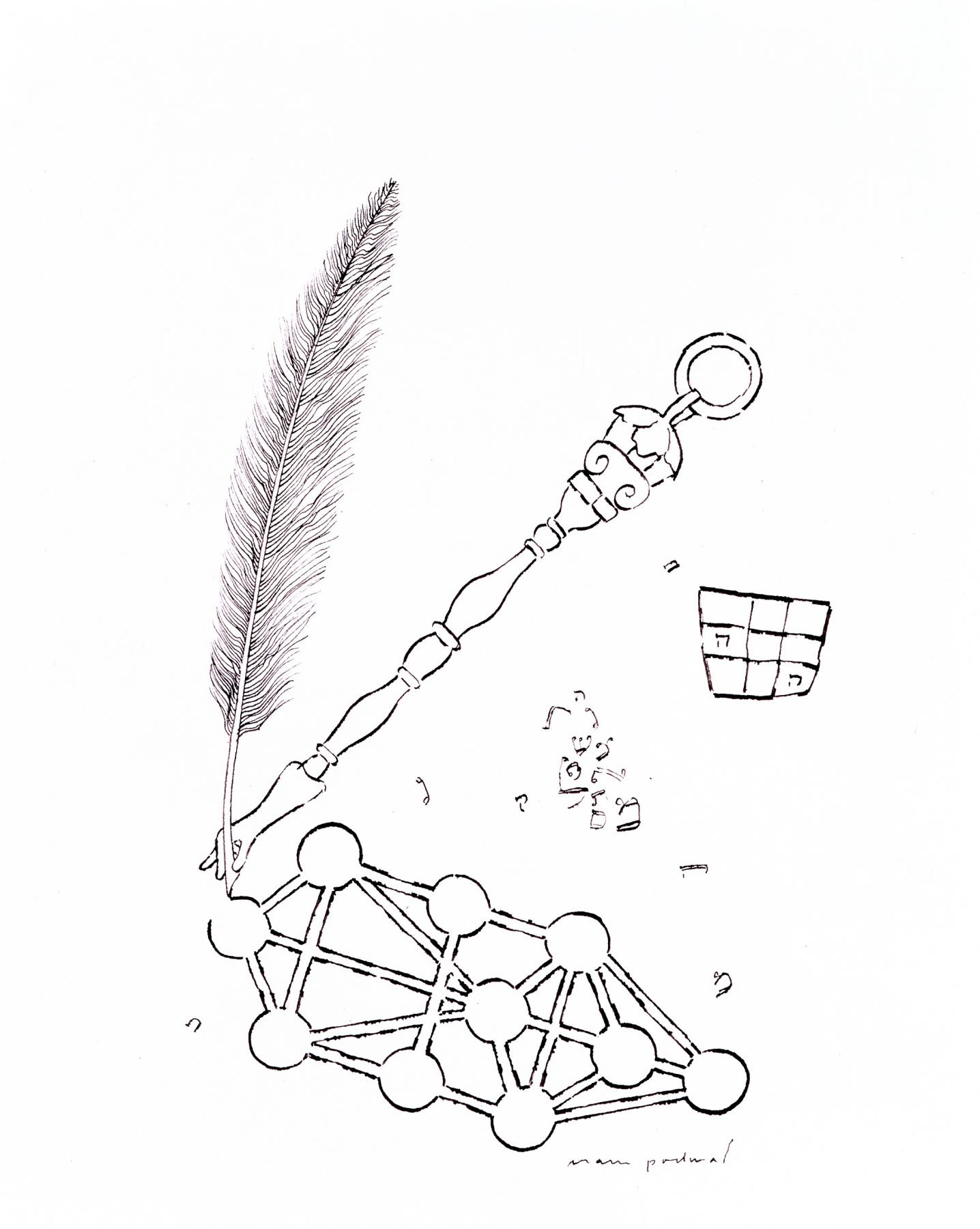 Mark Podwal, Kabbalah, 1997, ink on paper, 14 x 11 inches