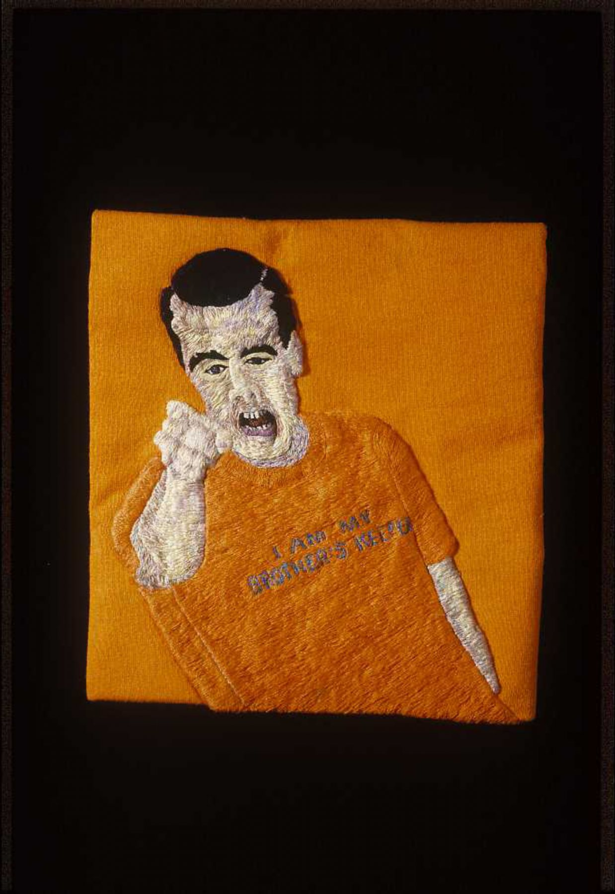 Darrel Morris, My Brother's Keeper, 2006, embroidery and applique, 8 1/2 x 7 1/2 inches