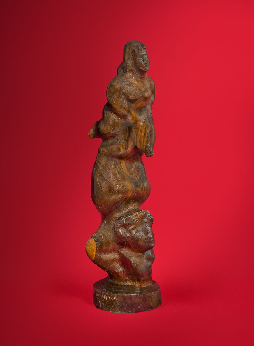 Chaim Gross, Upside Down, c. 1940, Lignum Vitae wood, 20 3/4 x 6 x 5 1/2 inches