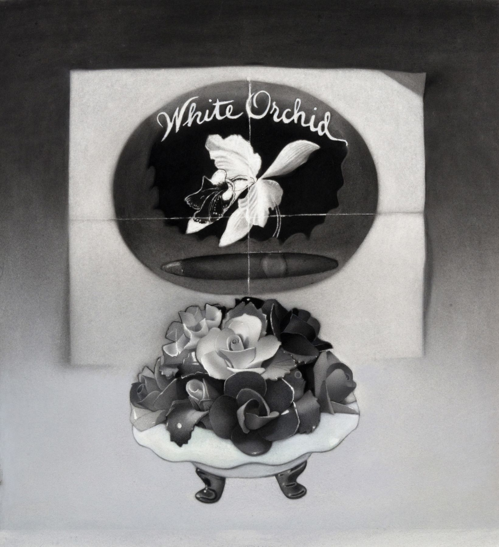 susan hauptman, Still Life, 2012, charcoal on paper, 28 x 31 1/2 inches