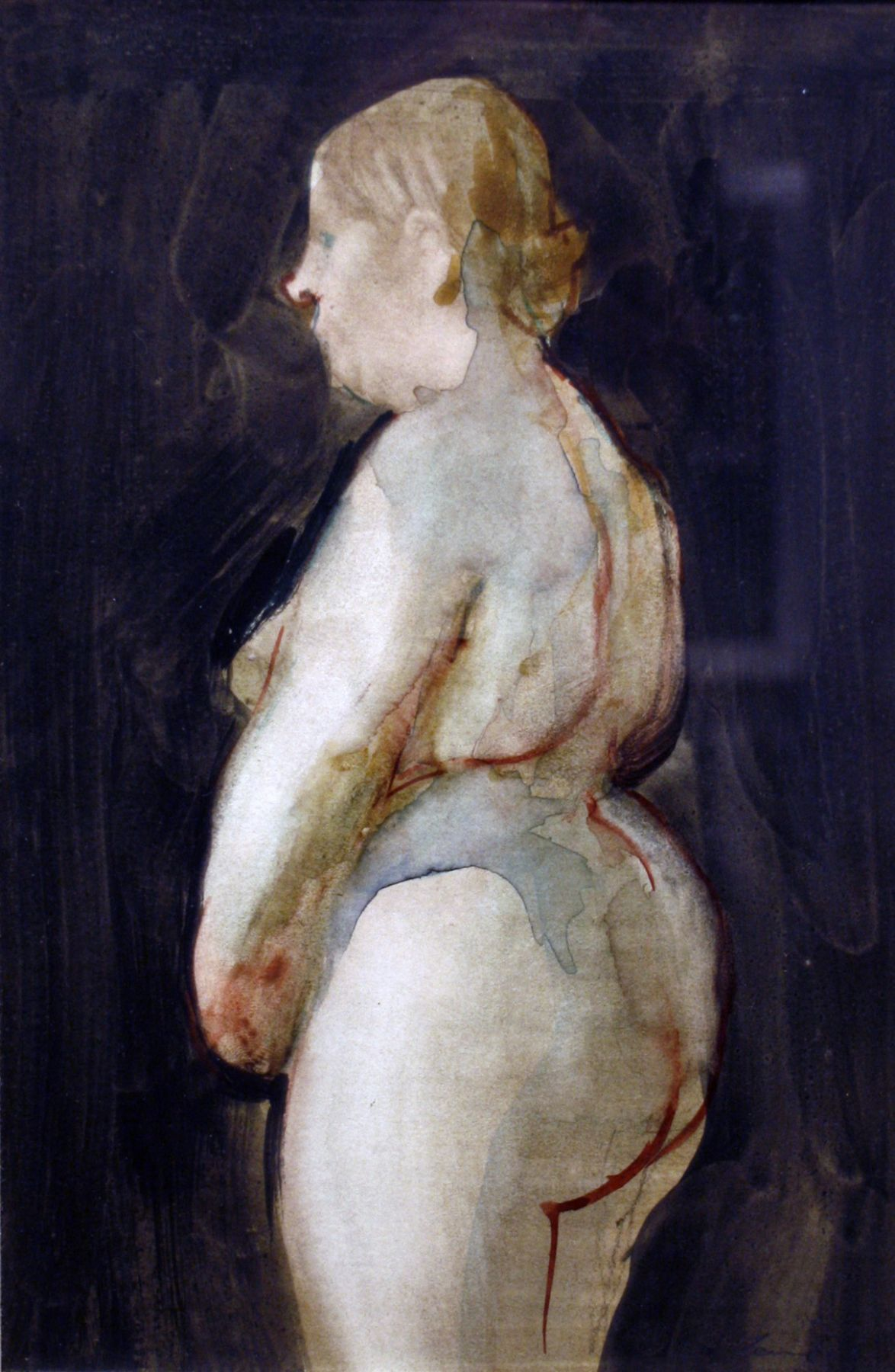 David Levine, Fat Nude, 1969, watercolor on paper, 10 1/2 x 7 inches