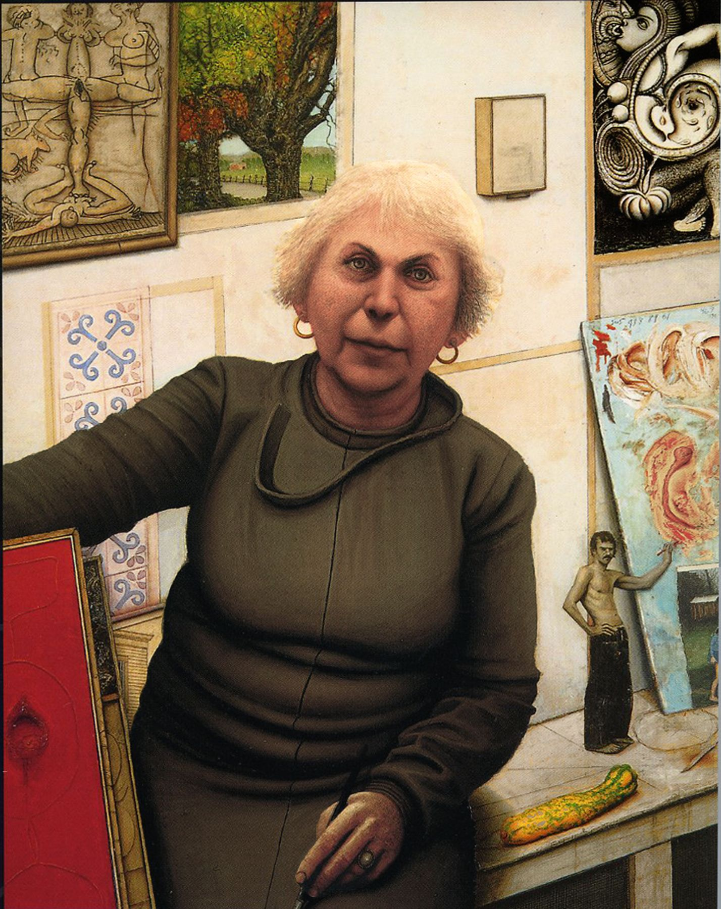 Gregory Gillespie, Portrait of Bella, 1987, oil on panel, 47 3/4 x 38 inches