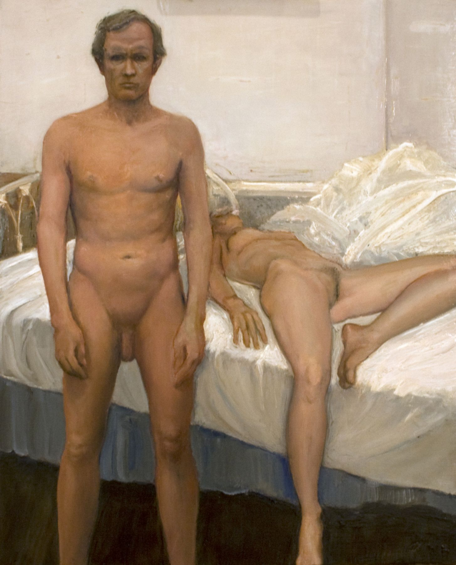william beckman, Bed Study #2 (Study for Studio 4), 1996, oil on canvas, 15 x 12 inches