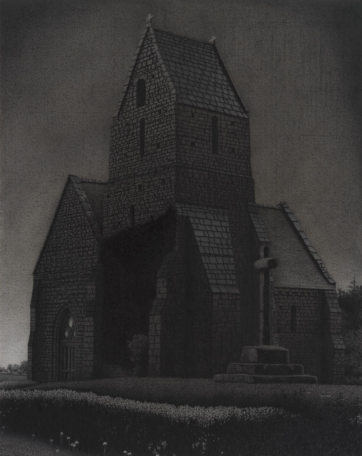 anthony mitri, Chapelle 2, Normandy, France, 2012, charcoal on paper, 39 1/2 x 26 inches