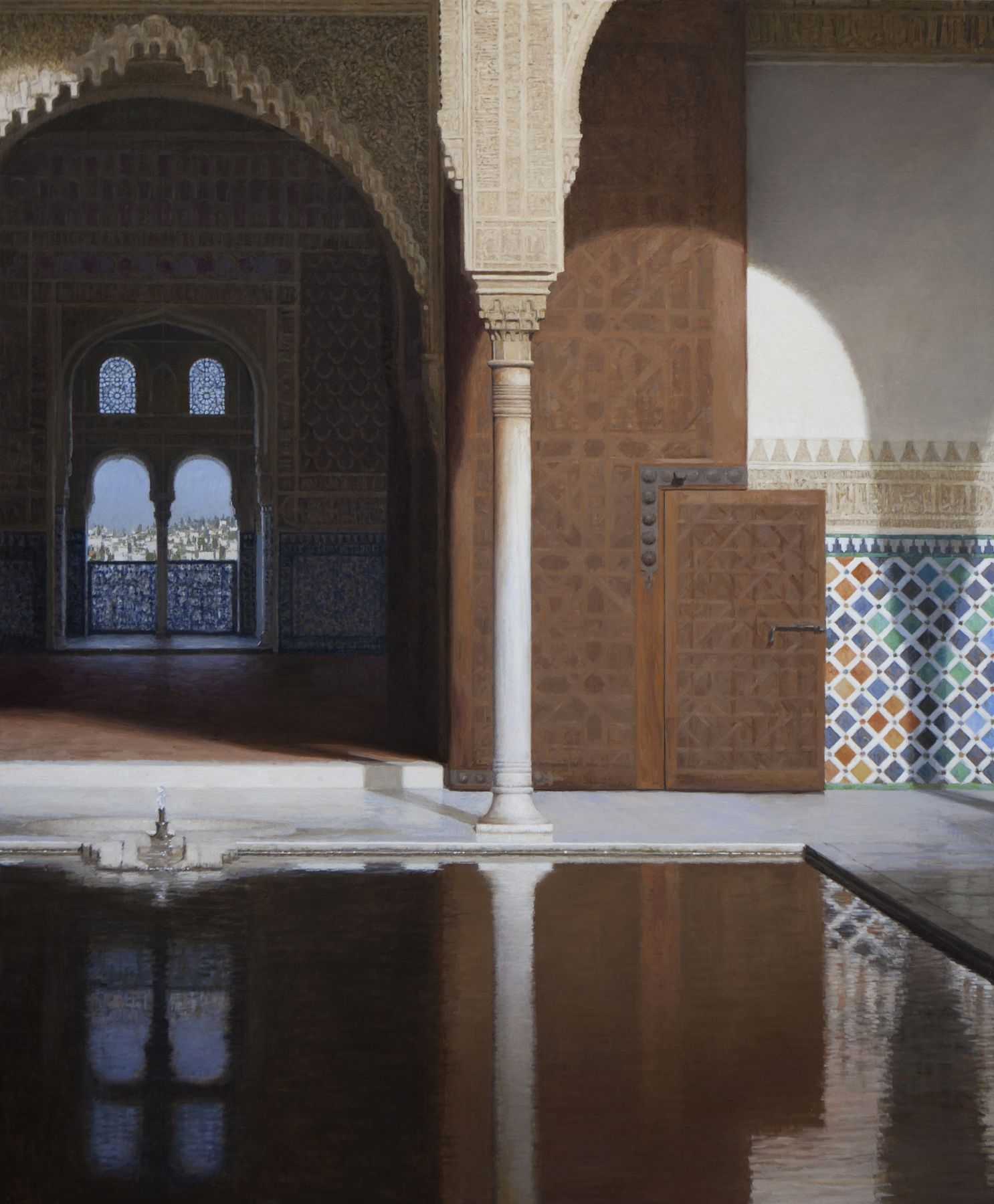 Guillermo Muñoz Vera, The Doorway to the Throne Room (SOLD), 2013-14, oil on canvas mounted on panel, 78 3/4 x 72 inches