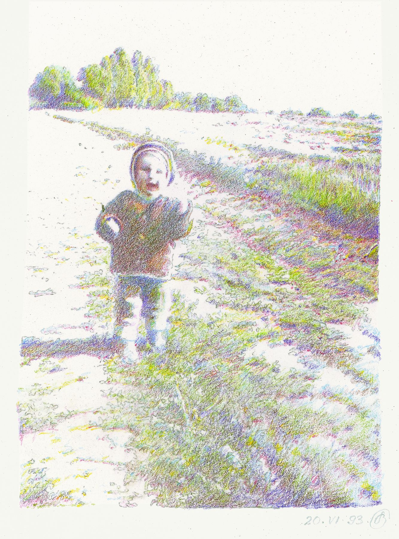 Oleg Vassiliev, Small Child, 1993, graphite and colored pencil on paper, 15 x 10 1/8 inches