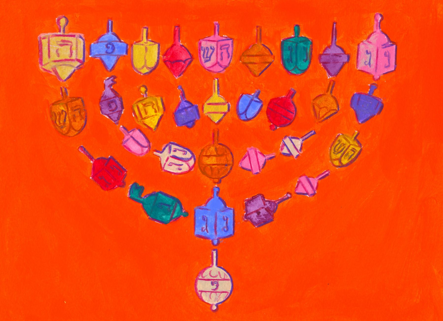 Mark Podwal, Dreidel Menorah, 2013, acrylic and colored pencil on paper, 9 x 12 inches