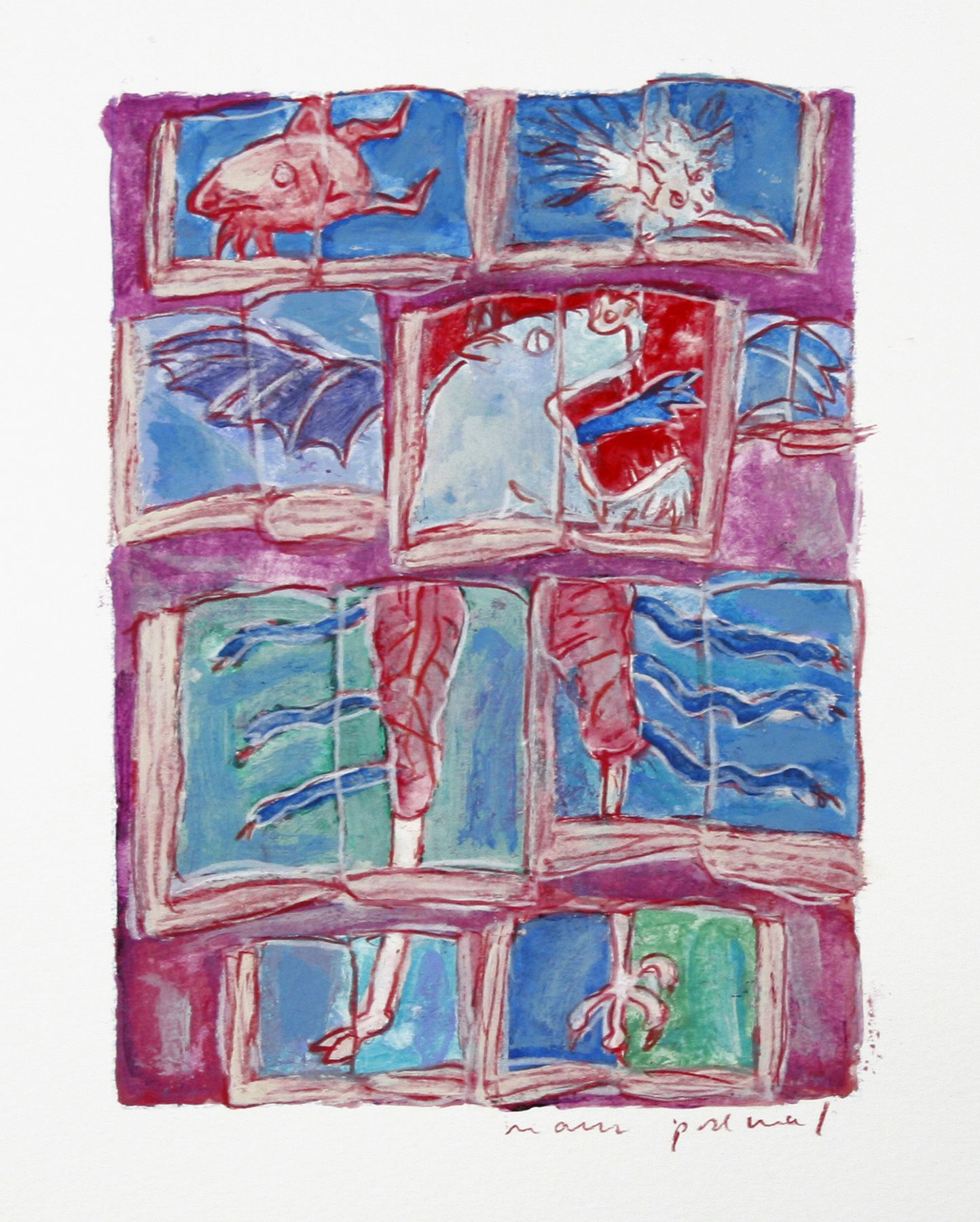 Mark Podwal, Demons, 2006, acrylic, gouache and colored pencil on paper, 7 1/2 x 5 1/2 inches