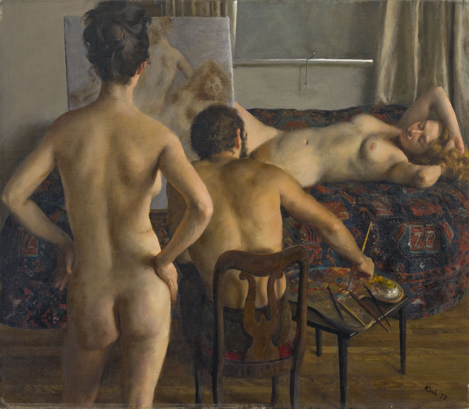 John Koch, Two Models and the Artist (SOLD), 1972, oil on canvas, 21 x 24 inches