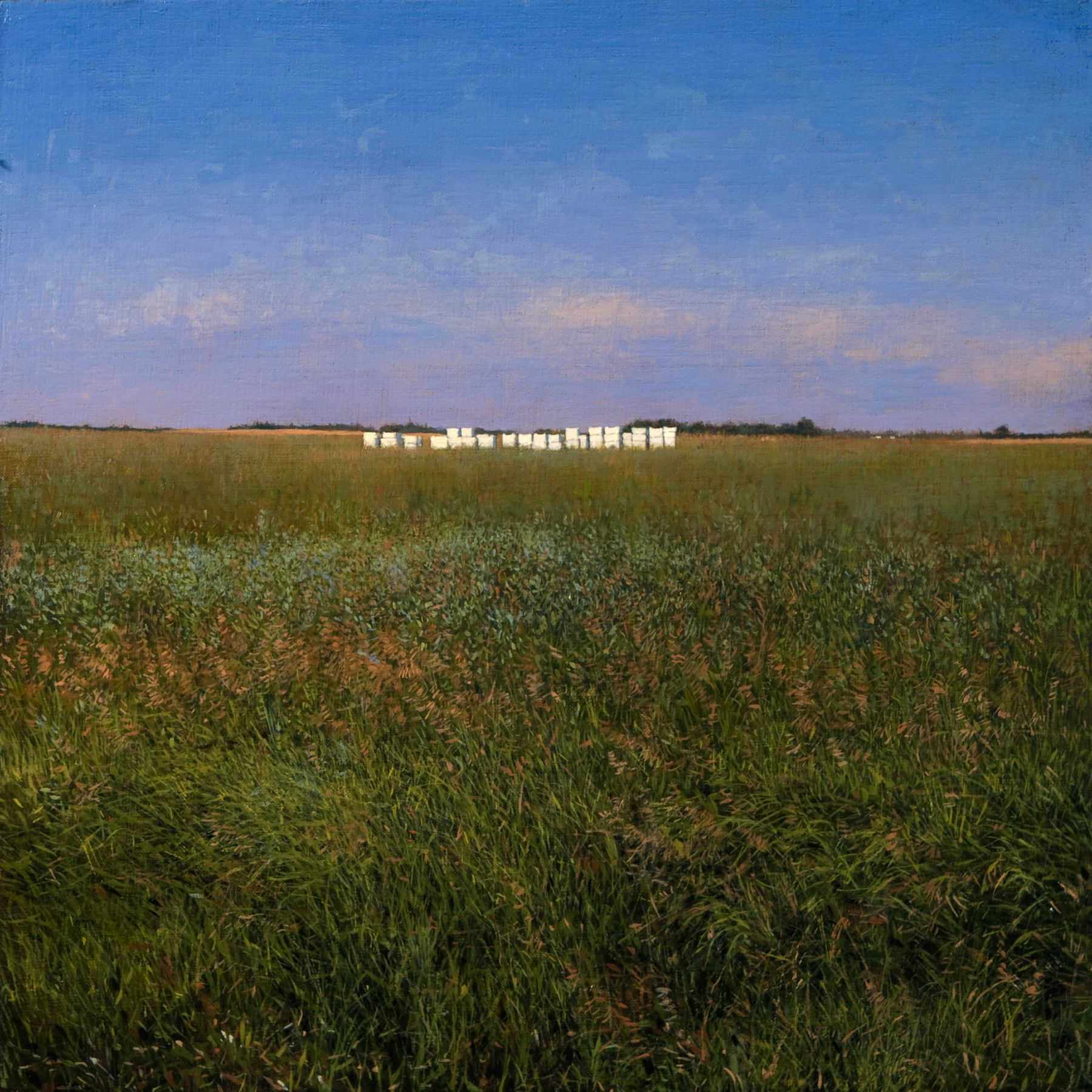 Linden Frederick, Bee Keeper (SOLD), 2008, oil on panel, 12 1/4 x 12 1/4 inches