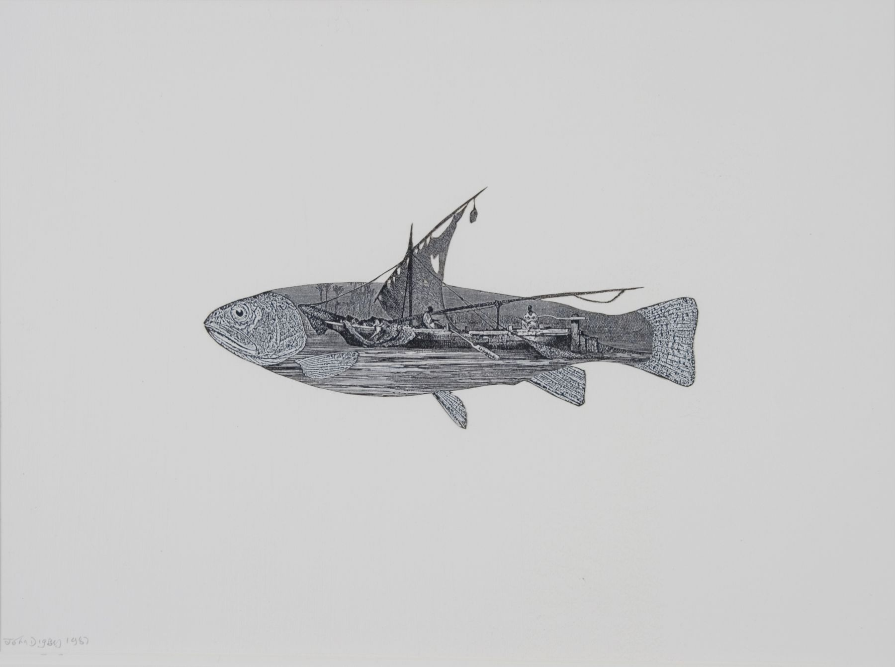 John Digby, Fish with Egyptian Boat, 1987, collage with pen and ink, 16 x 20 inches