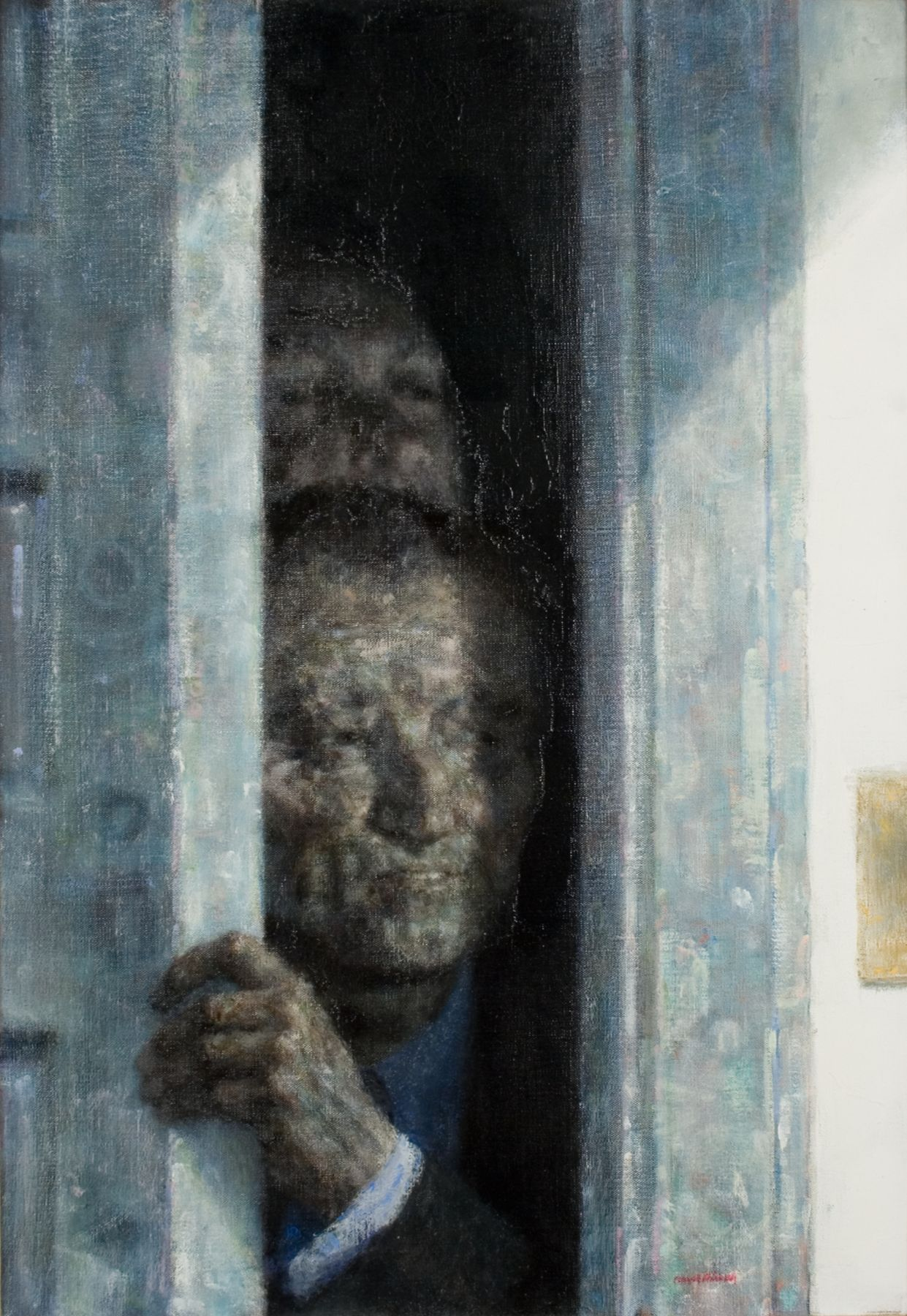 Joseph Hirsch, Visit, 1964, oil on canvas, 21 3/4 x 15 inches