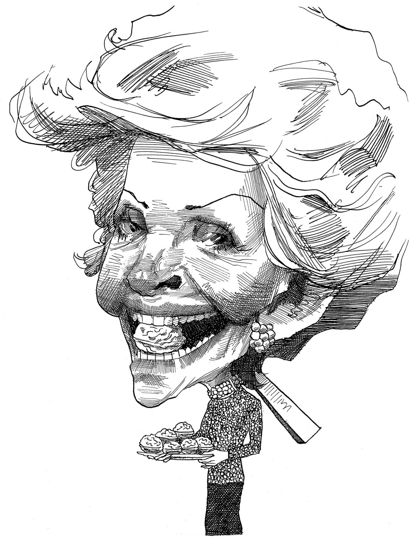 David Levine, Nancy Reagan- The Nut Cracker, 1989, ink on paper, 14 x 11 inches