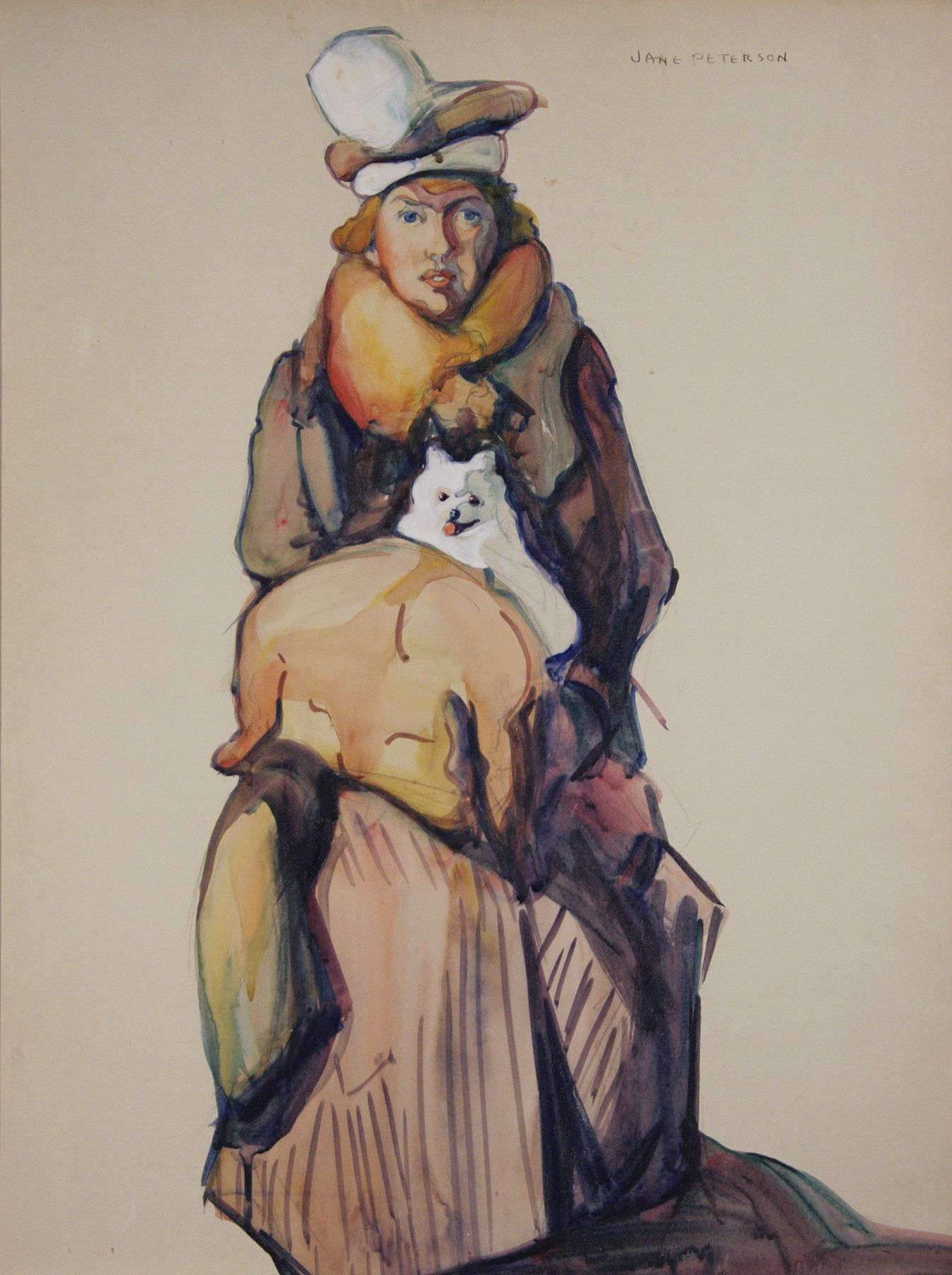 Jane Peterson, Self-Portrait with Skippy (SOLD), nd, watercolor and gouache on paper, 24 x 18 inches