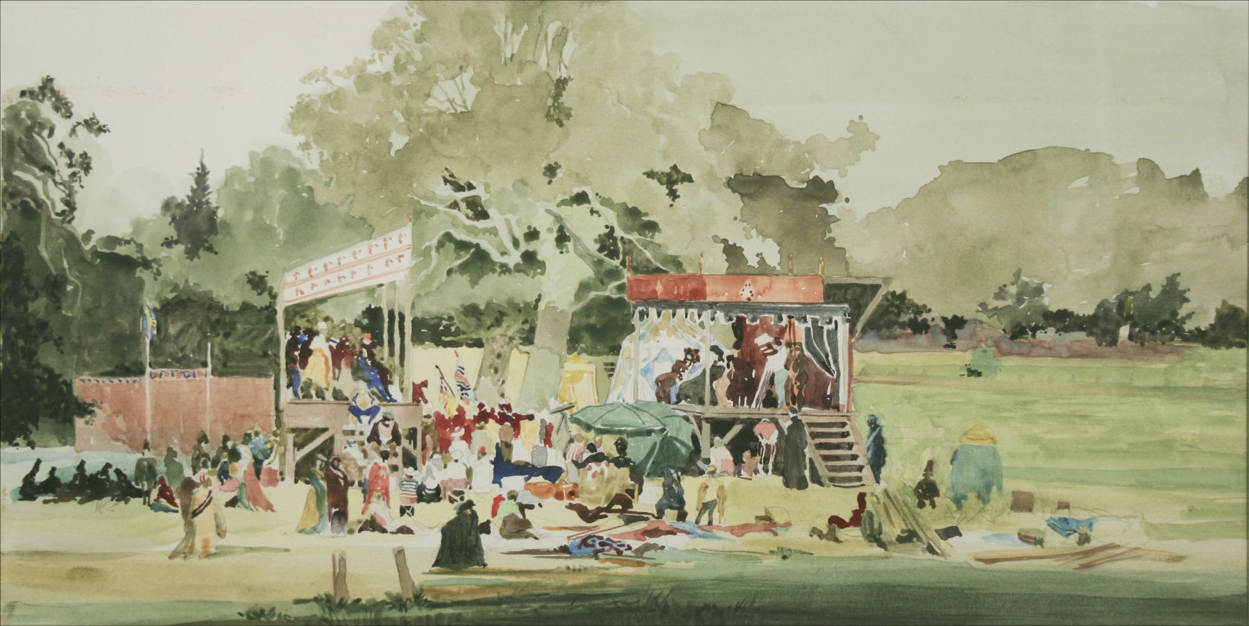 """David Levine, Taping """"As You Like It"""", c. 1979, watercolor on paper, 9 x 18 inches"""
