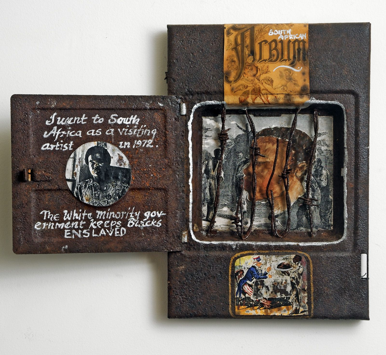 David Driskell, My South African Album, c. 1987, mixed media sculpture, 13 x 19 x 3 /4 inches