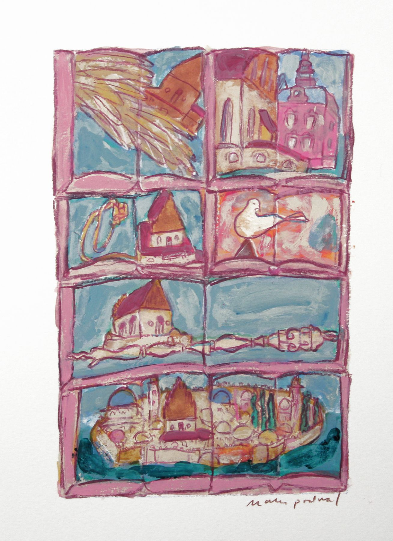 Mark Podwal, A synagogue with as many stories as stones (SOLD), 2008, acrylic, gouache and colored pencil on paper, 9 3/4 x 6 3/4 inches