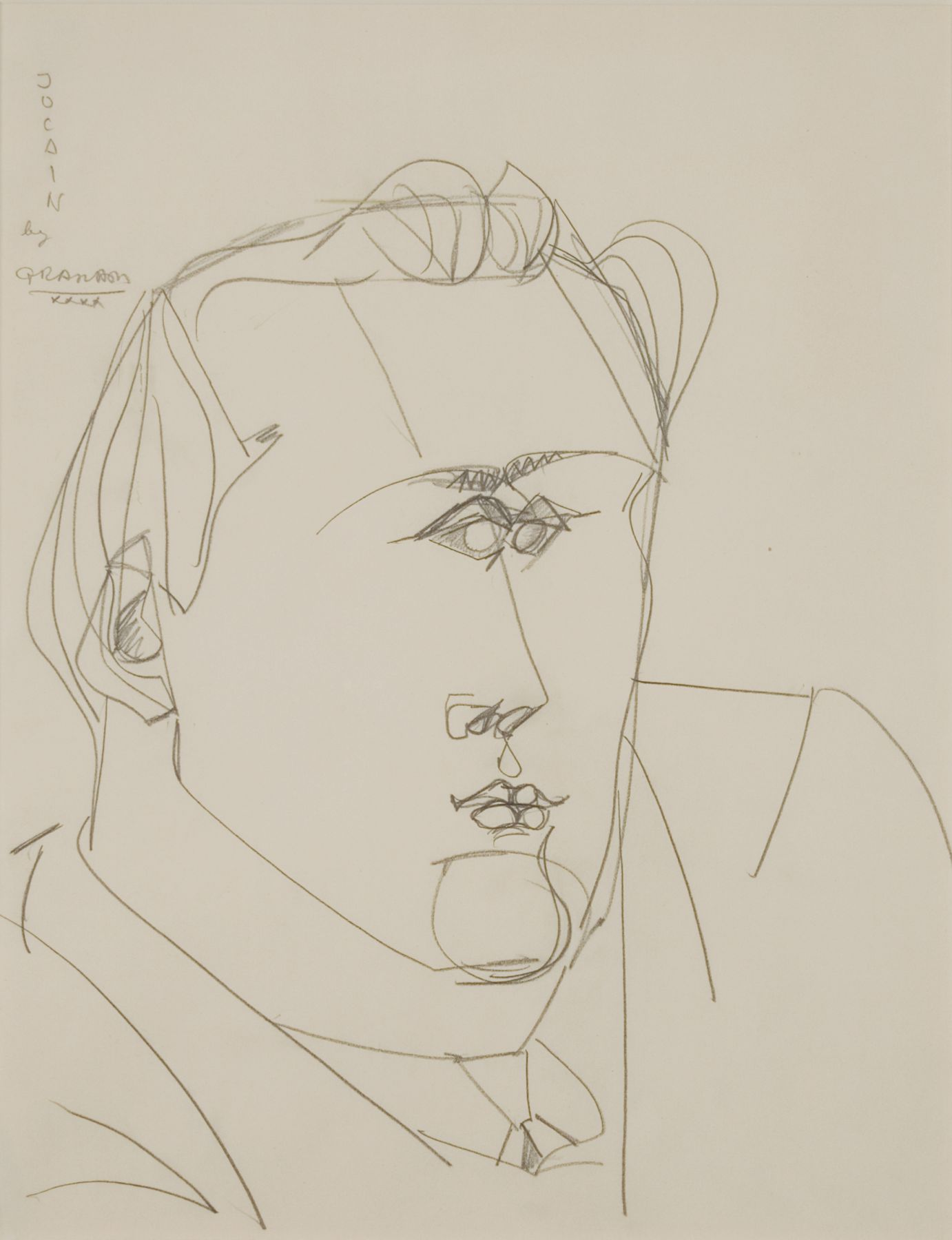 John Graham, Portrait of Jo Cain, 1940, pencil on paper, 16 1/2 x 13 inches