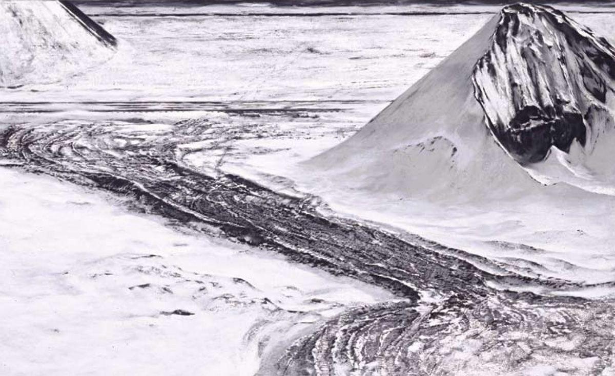 Craig McPherson, Coal Piles, 1997-2007, pastel on mezzotint ground, 33 1/2 x 54 1/2 inches