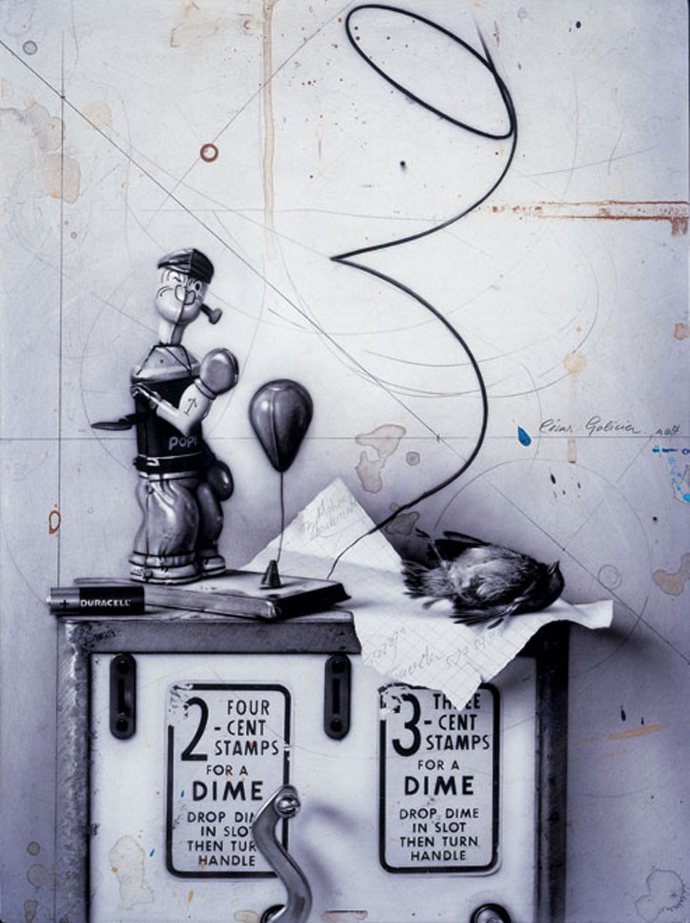 César Galicia, Bodegón con Popeye, 1999, mixed media on board 18 1/2 x 13 3/4 inches