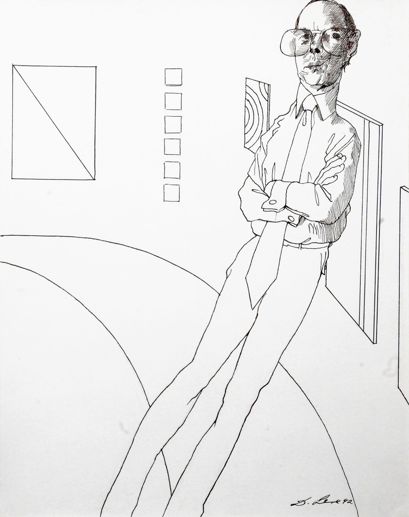 David Levine, Thomas Krens, 1992, pen and ink on paper, 14 x 11 inches
