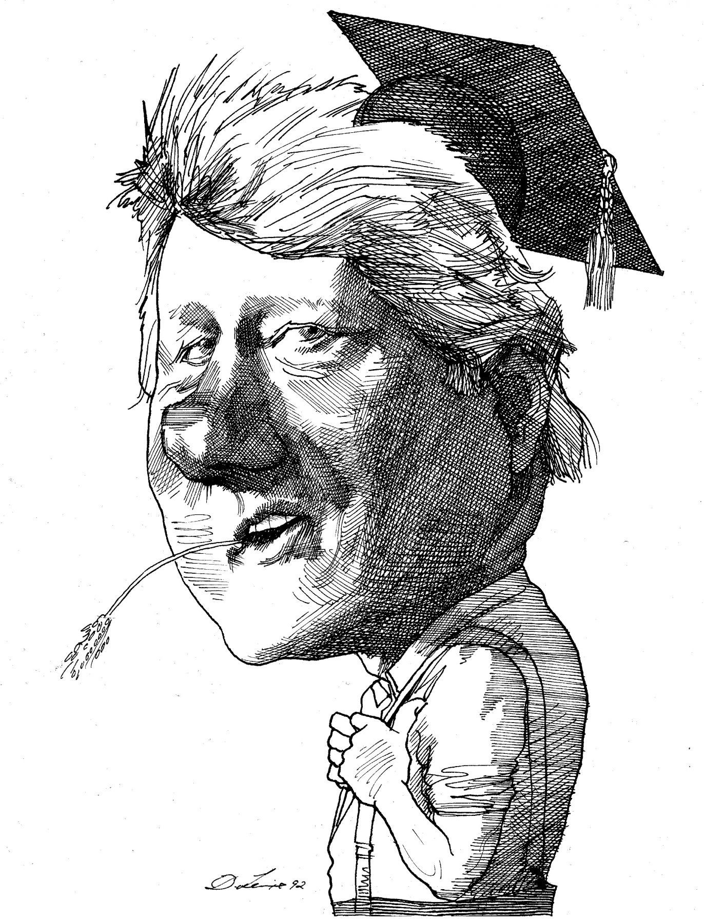 David Levine, Bill Clinton, 1992, ink on paper, 13 3/4 x 11 inches