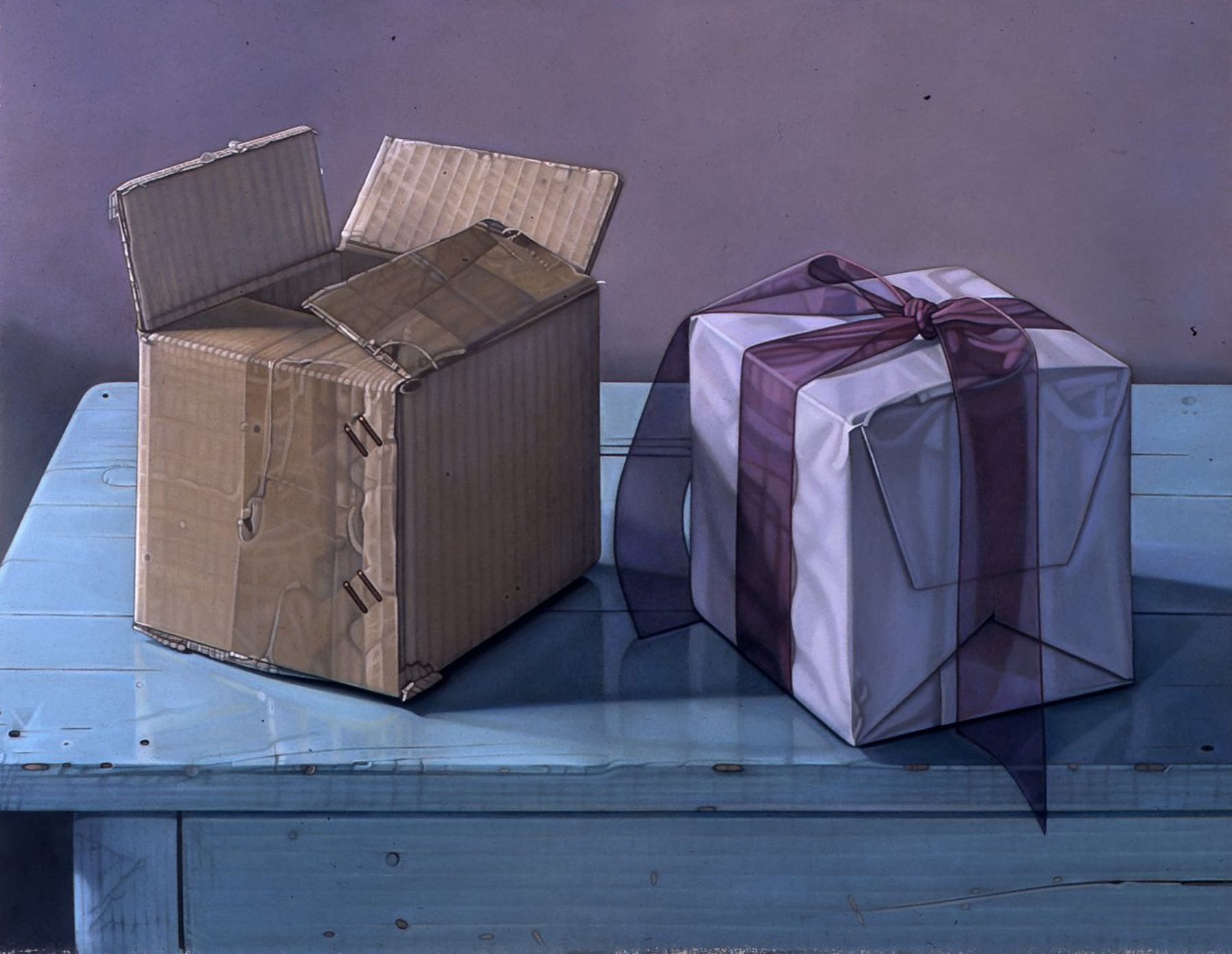 Jane Lund, Two Boxes, 2004, pastel on paper, 16 x 21 inches