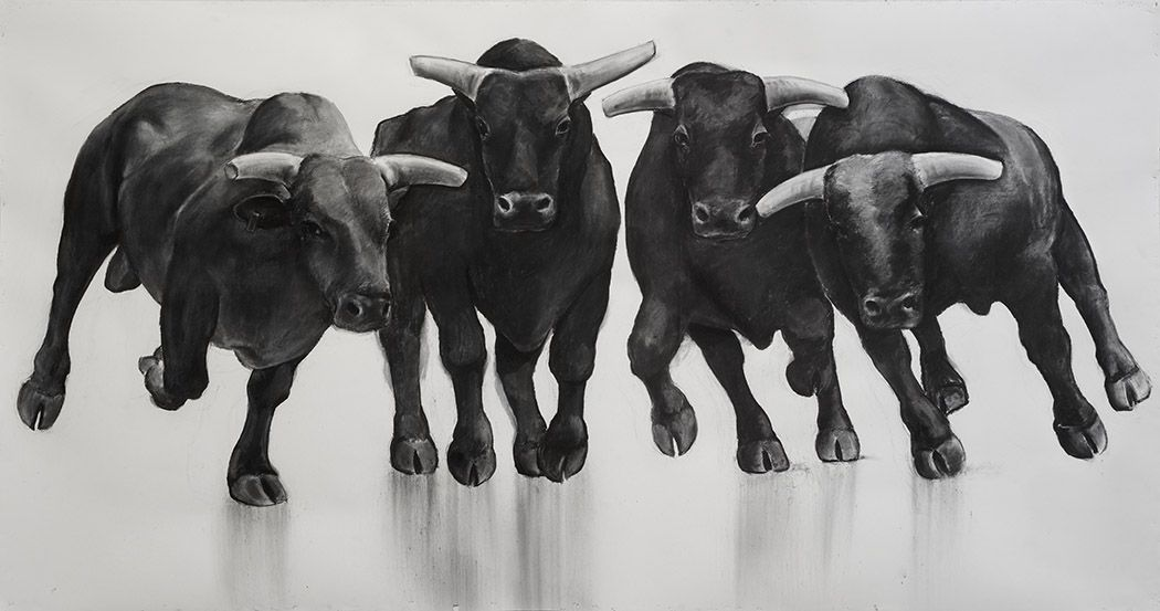 William Beckman, The Bull Series, #10 (SOLD), 2017, charcoal on paper , 66 x 127 inches