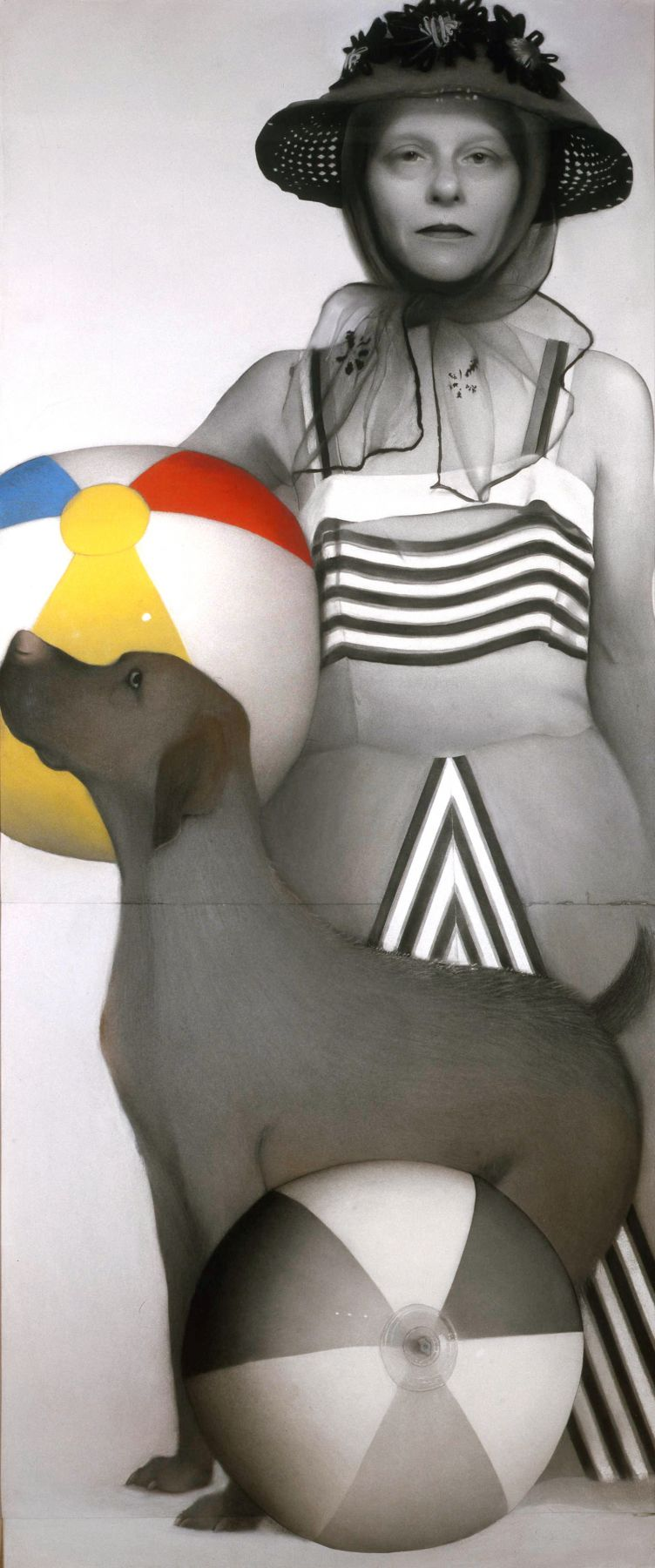 Susan Hauptman, Hair Self-Portrait with Dog (SOLD), 2001, charcoal, pastel, and hair on paper, 94 x 40 1/2 inches