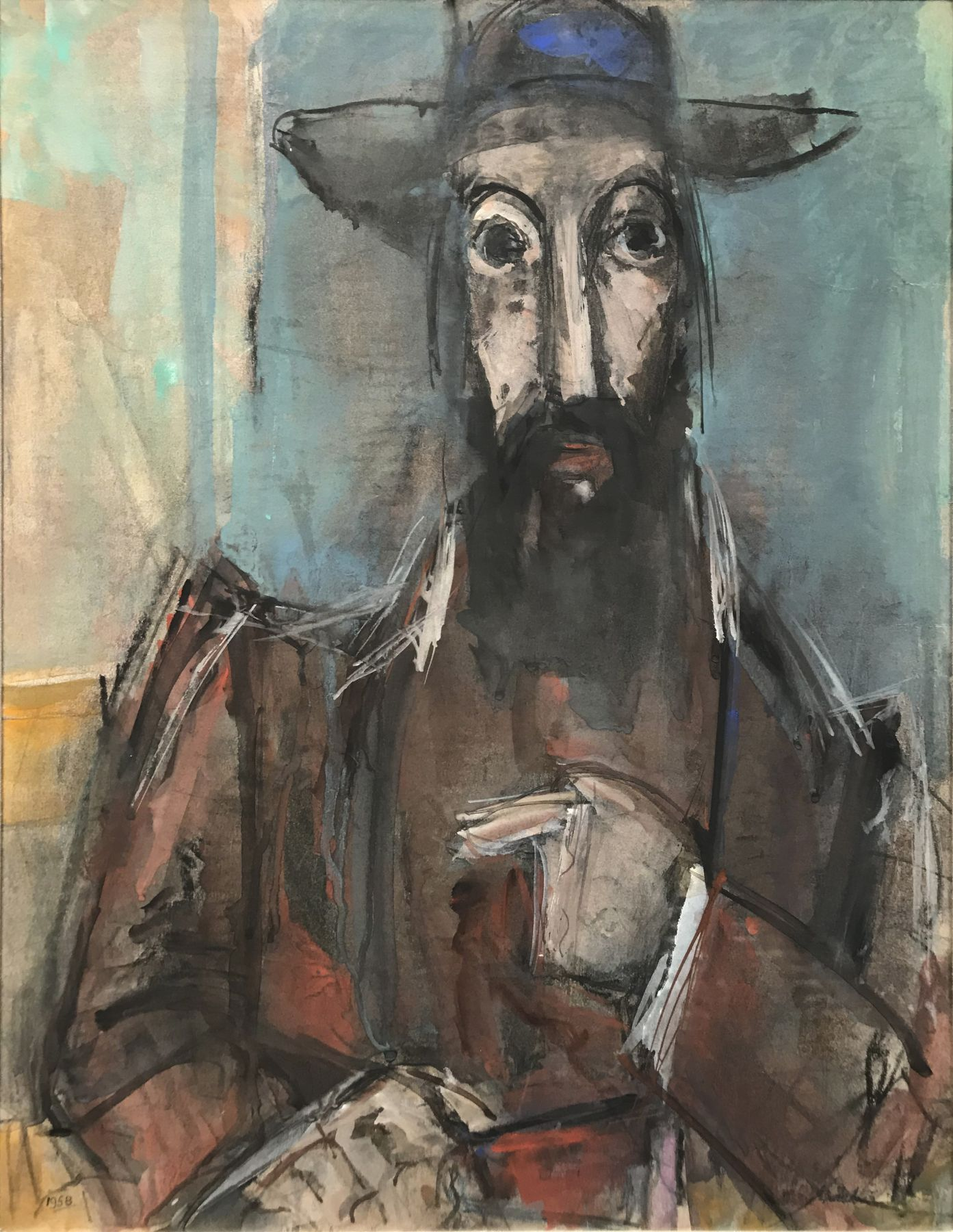 Max Weber, The Rabbi, 1957-58, gouache and pastel on paper, 23 5/8 x 17 5/8 inches