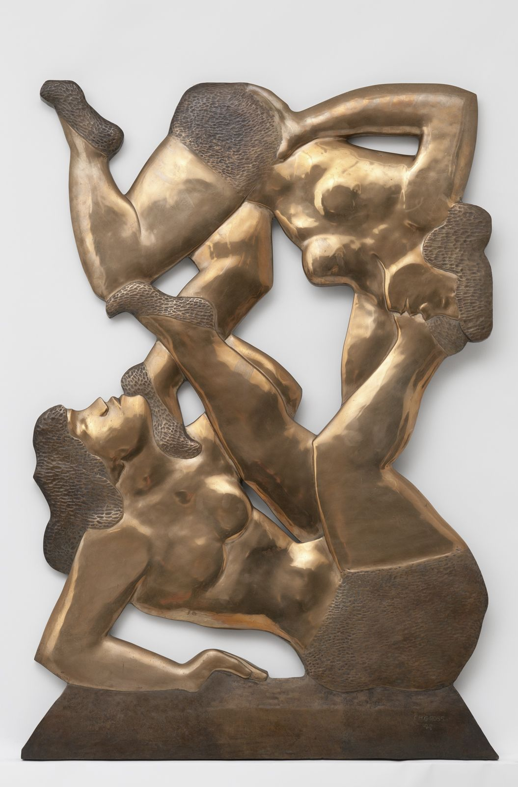 Chaim Gross, Acrobatic Performers, 1932, cast in 1985, bronze, 41 7/8 h x 28 5/8 w x 1 d inches, edition of 3