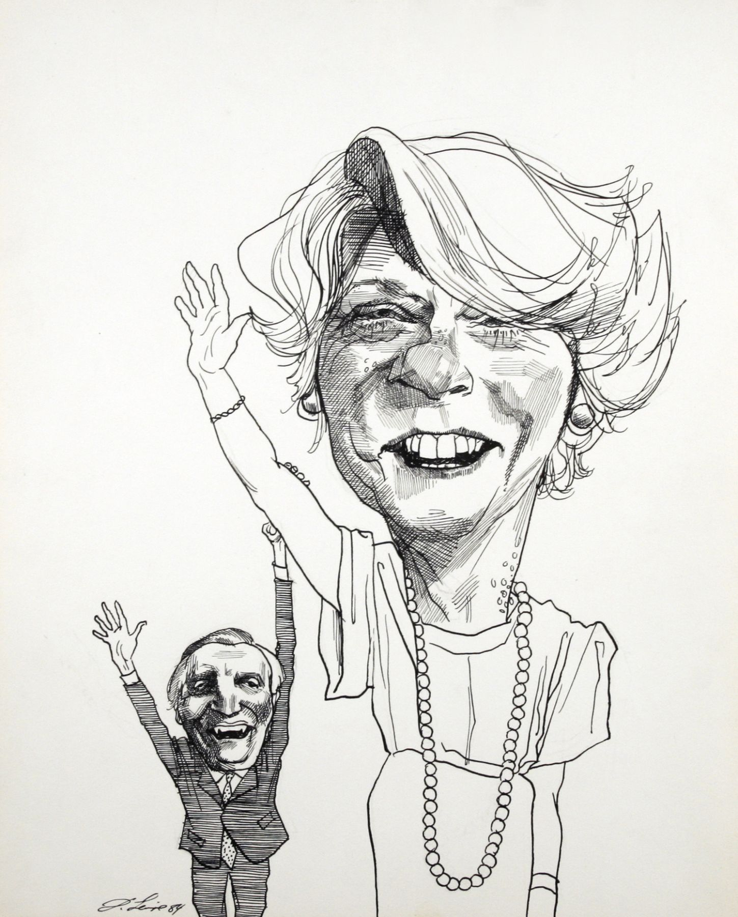 David Levine, Ferraro & Mondale, 1984, ink on paper, 13 1/2 x 11 inches
