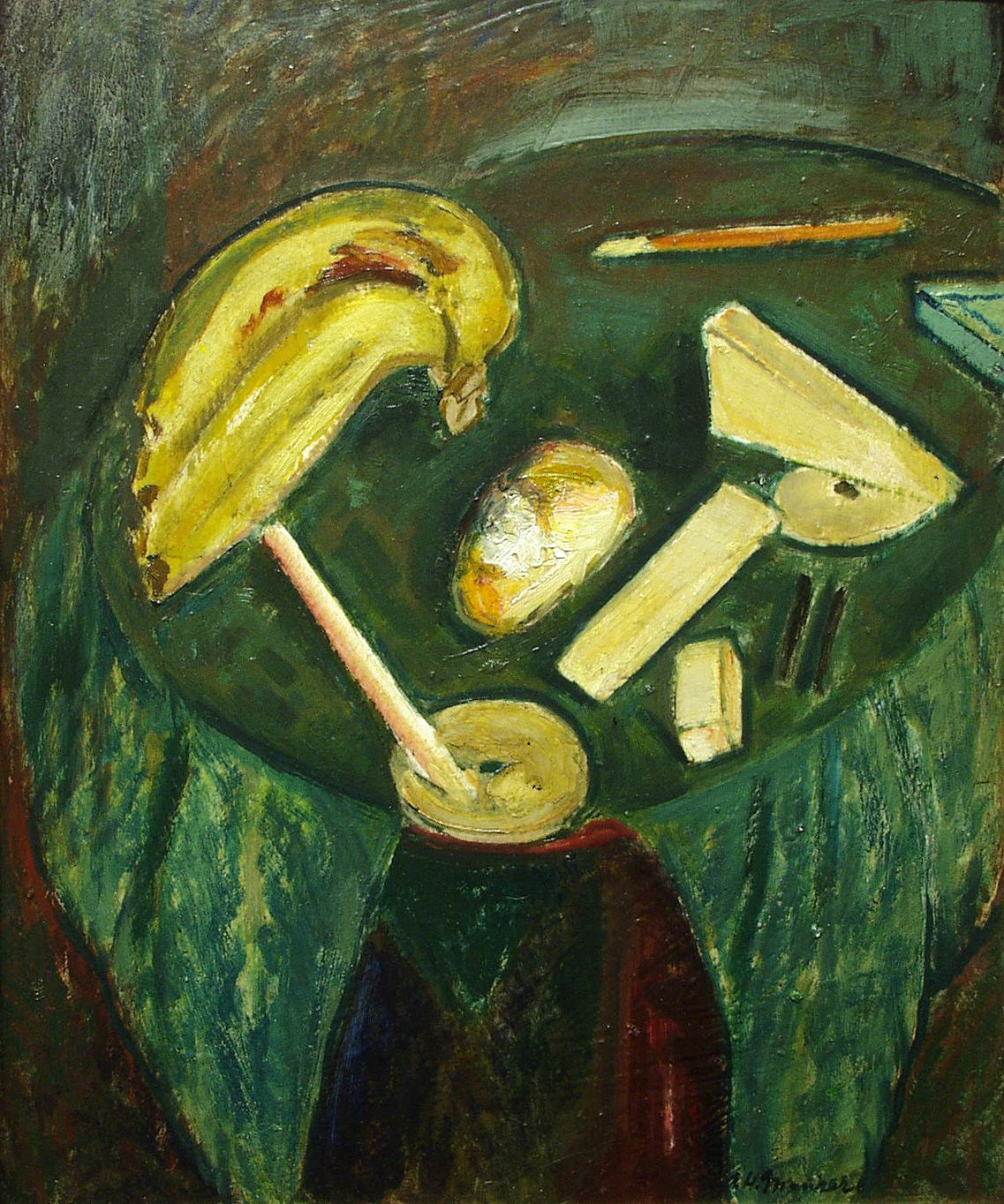 alfred maurer, Cubist Still Life, c. 1919, oil on gesso board, 21 1/2 x 17 3/4 inches