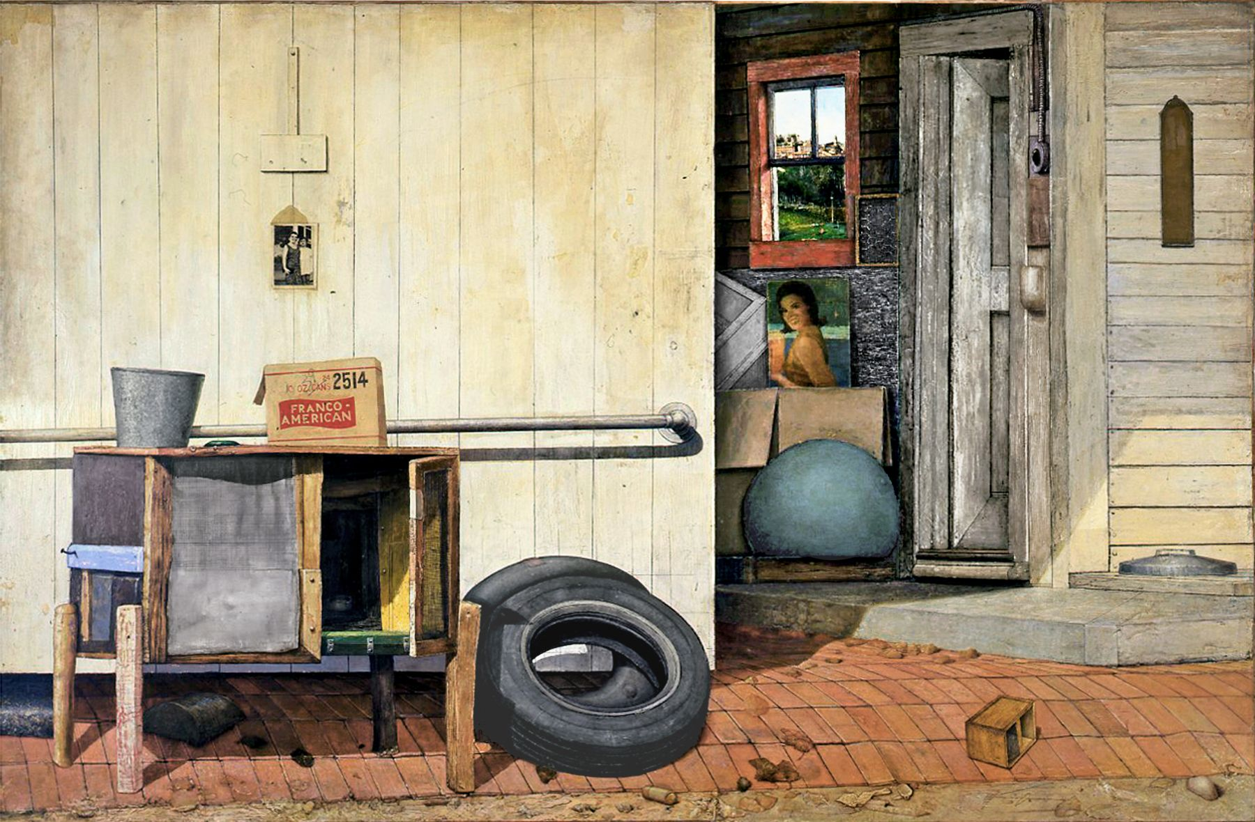 Gregory Gillespie, Back Entrance: Williamsburg, Massachusetts (SOLD), 1972, oil and Magna on wood, 54 x 84 inches