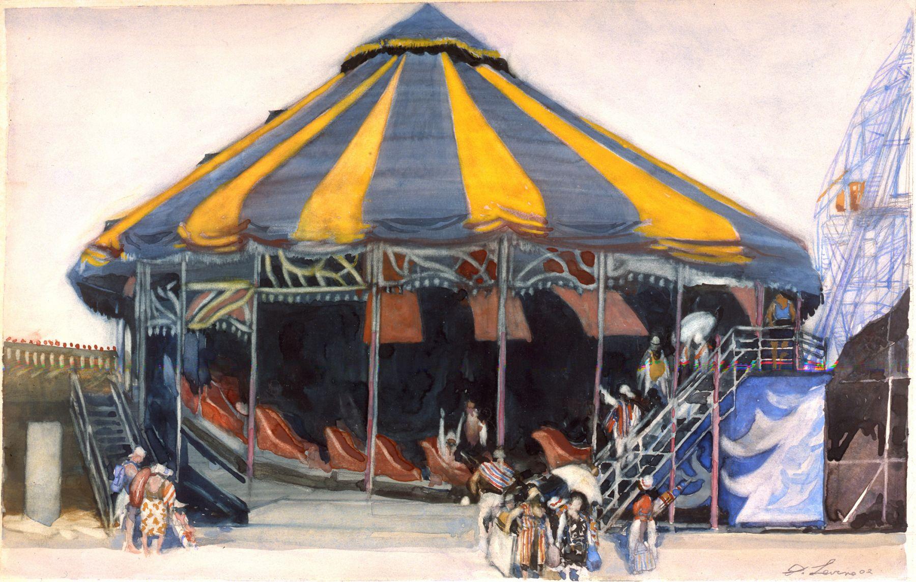 david levine, Escape, 2003, watercolor on paper, 111 1/2 x 18 inches, Private collection, Chicago, IL