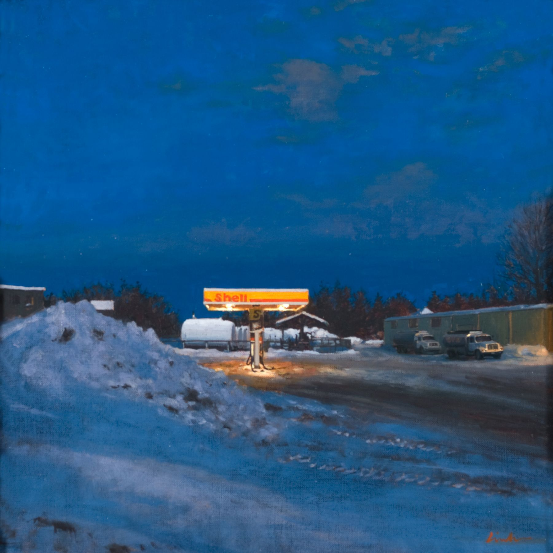 Linden Frederick, Shell (SOLD), 2008, oil on panel, 12 1/4 x 12 1/4 inches