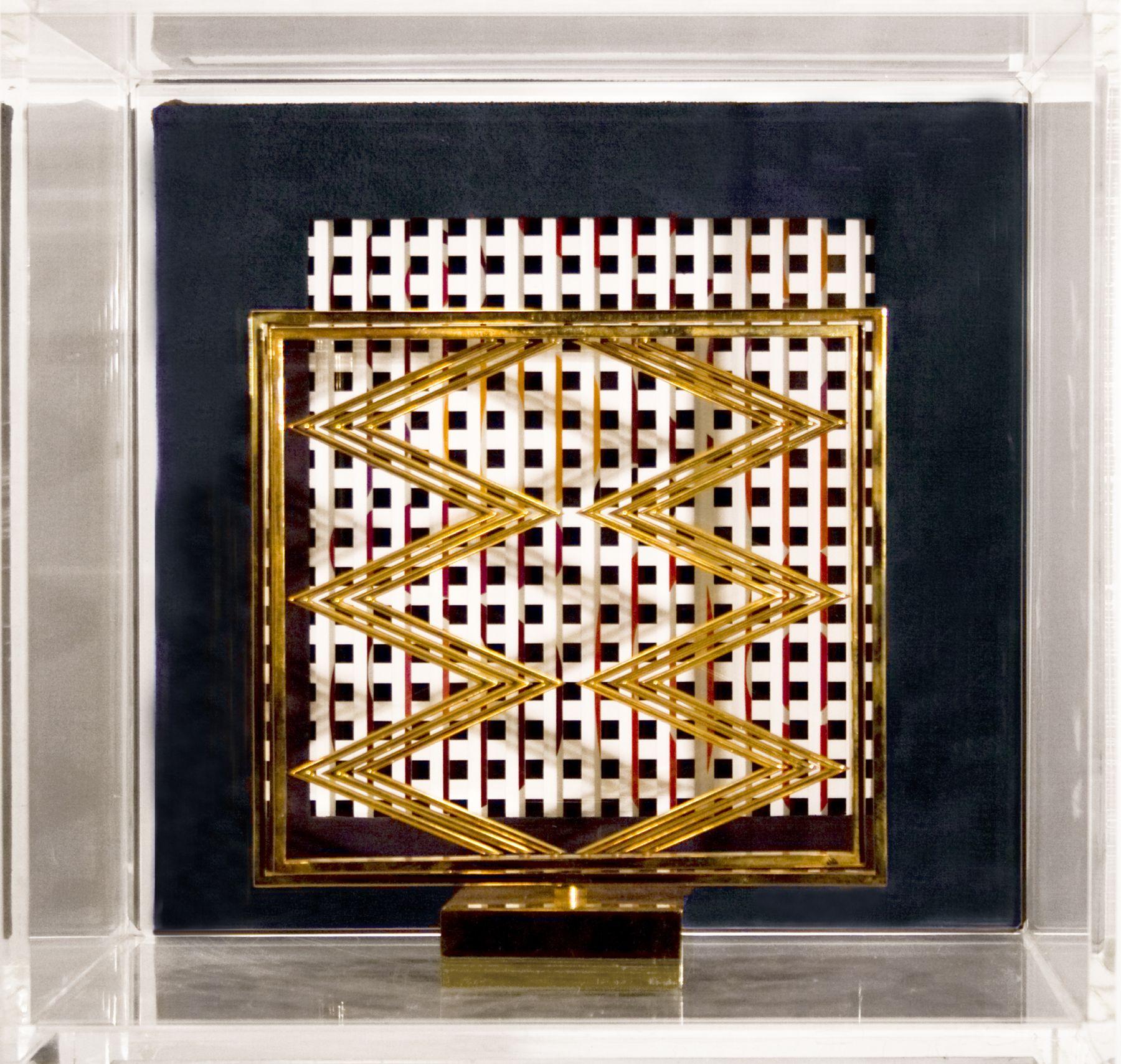 Yaacov Agam, Sens presence sens (SOLD), c.1976, polished bronze in Plexi case with book, sculpture: 8 x 8 x 8 inches, Plexi: 12 x 12 x 13 inches