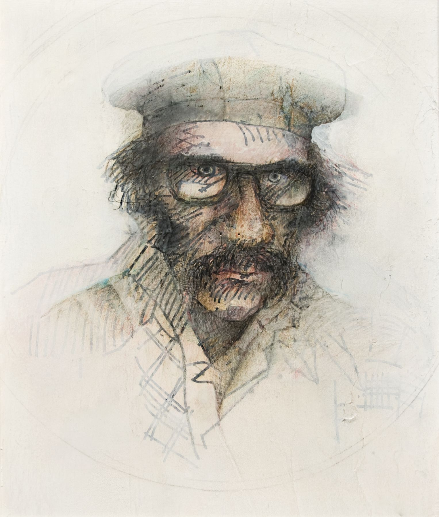 Gregory Gillespie, Self-Portrait with Glasses (SOLD), 1983, mixed media on paper mounted on board, 26 1/2 x 22 1/2 inches