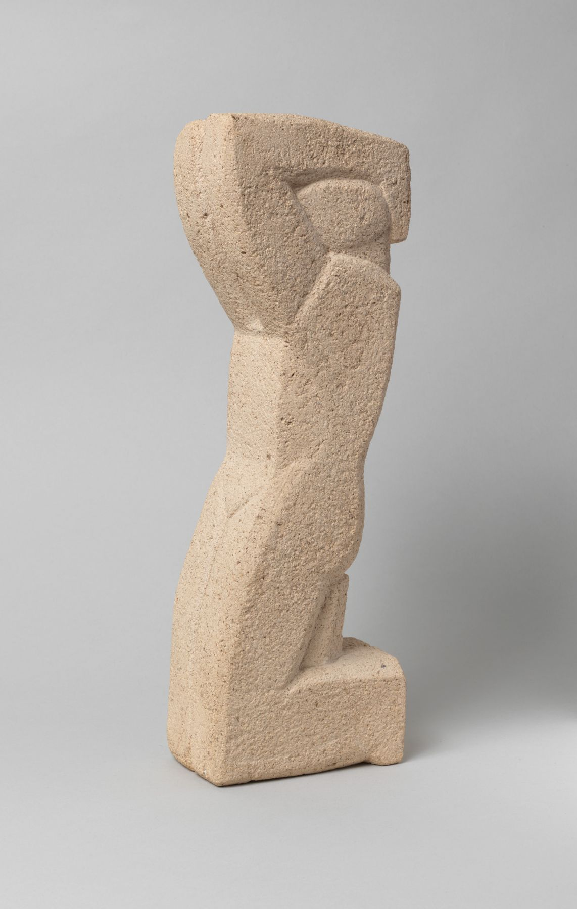 John Storrs, Kneeling Figure with Arms Raised, 1947, cast stone, 13 3/8 h x 4 3/8 w x 2 3/4 d inches, unique cast