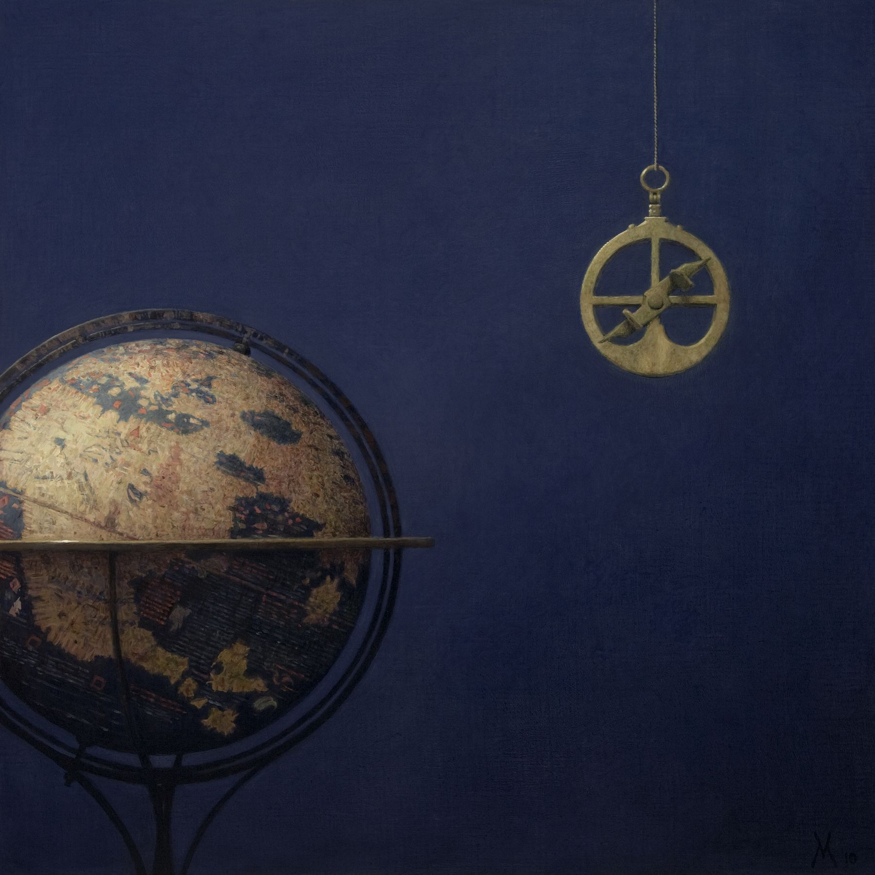 guillermo munoz vera, The Erdapfel of Behaim and Astrolabe, 2010, oil on canvas on panel, 35 x 35 inches