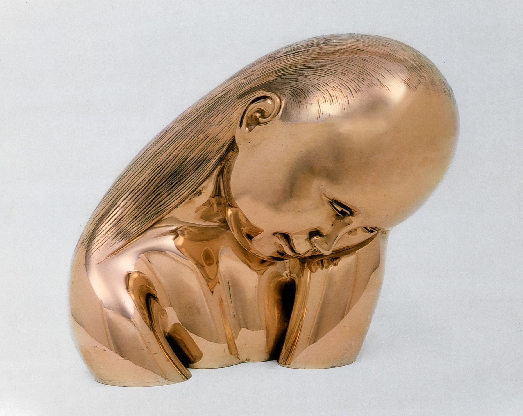Hugo Robus, Shy (Adolescent Girl), c.1951, polished bronze, 11 x 13 x 9 inches, Edition of 2
