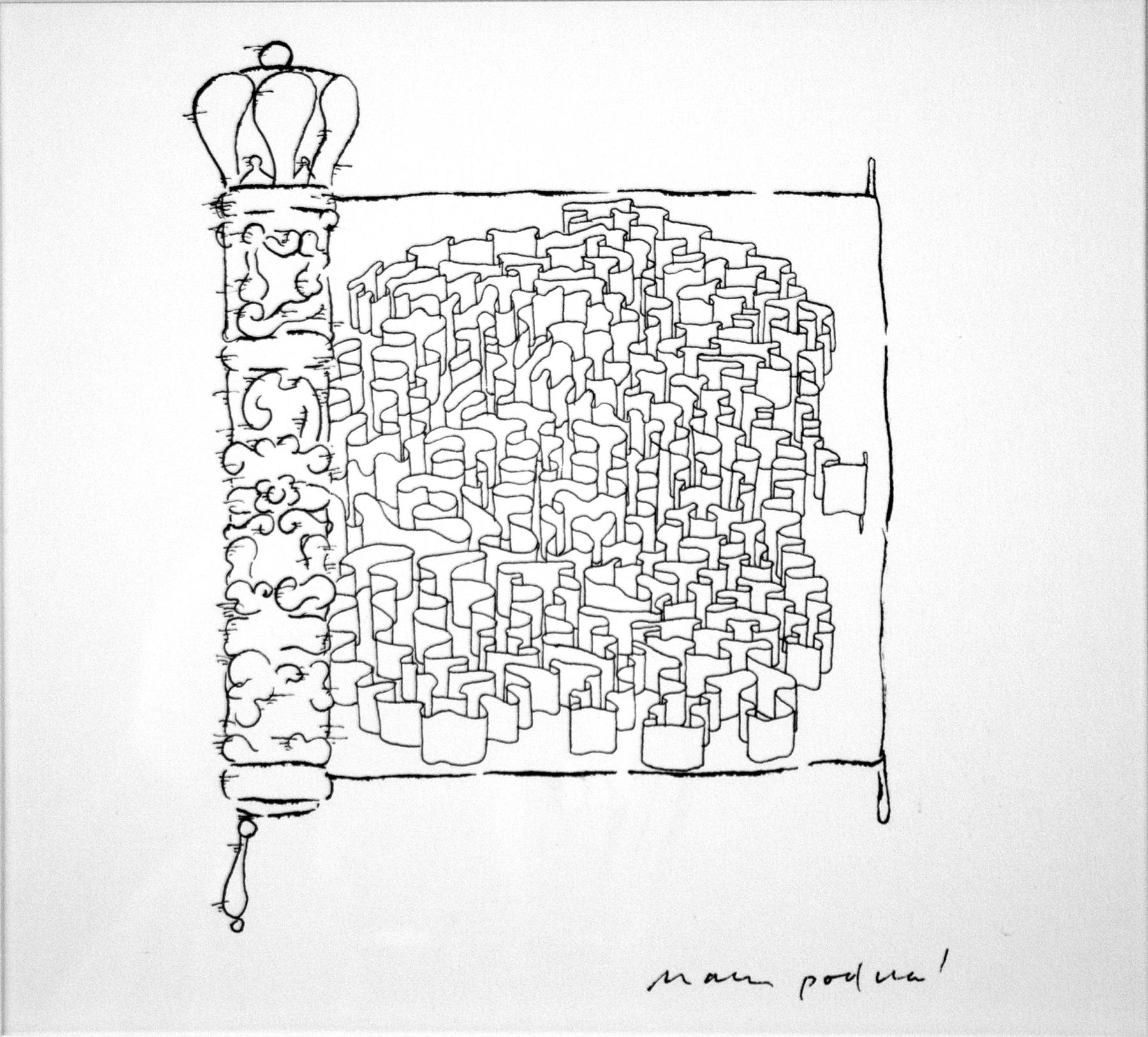 mark podwal, Megillah, 1998, ink drawing, 7 x 5 1/2 inches
