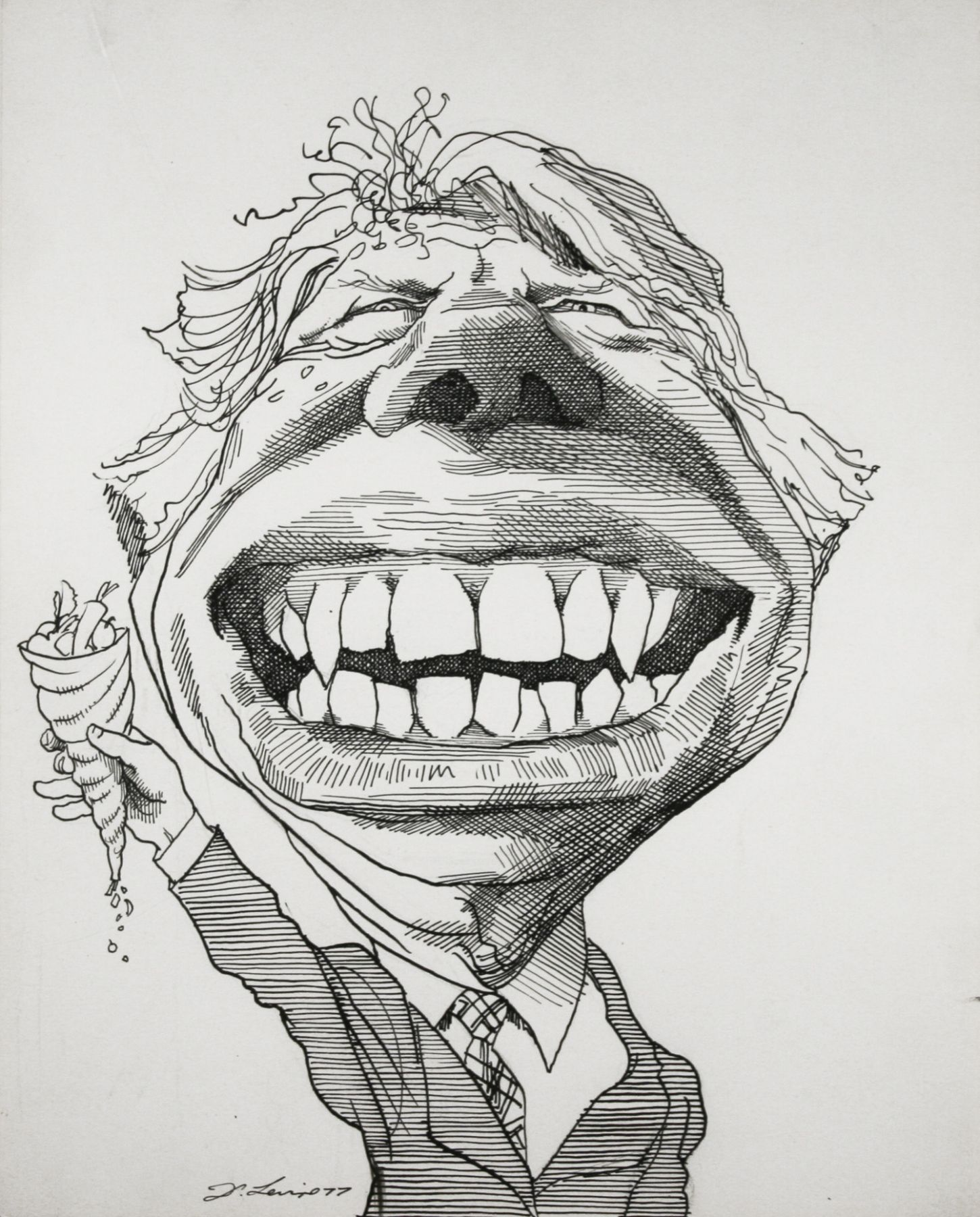 David Levine, Jimmy Carter, 1977, ink on paper, 13 3/4 x 11 inches